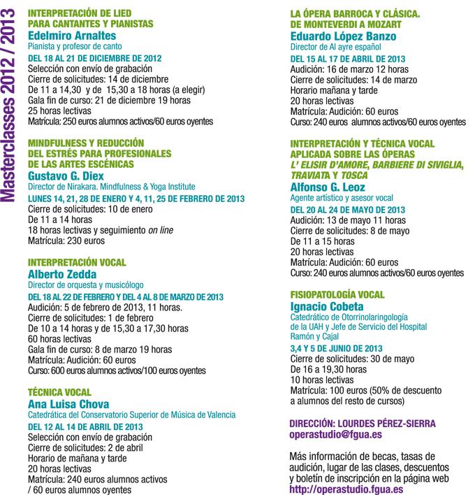 operastudio  Masterclasses 2012 / 2013