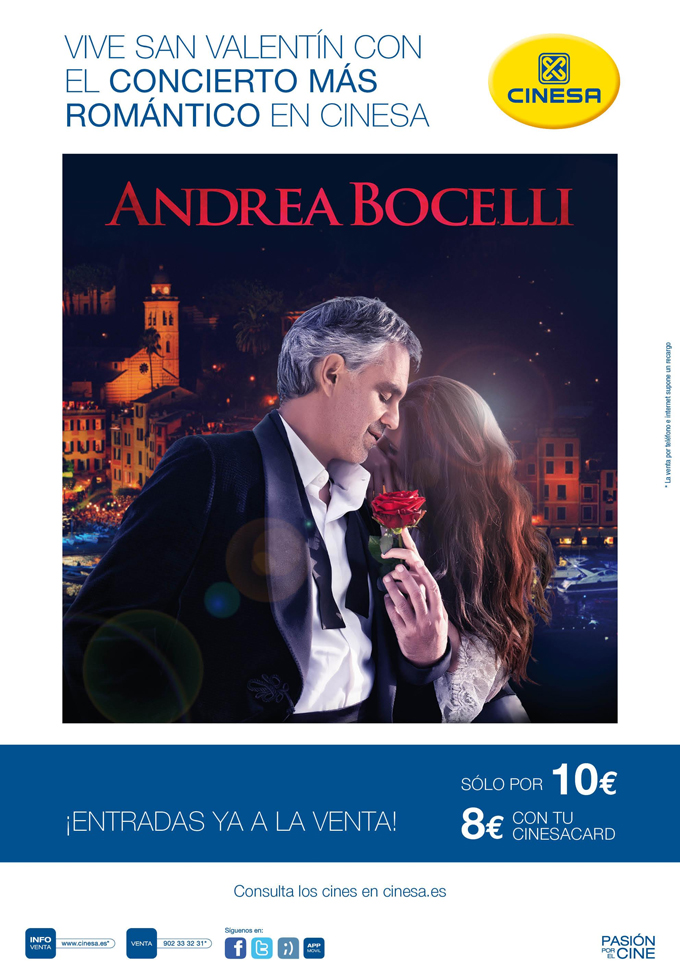 cinesa  Andrea Bocelli en cines de toda España
