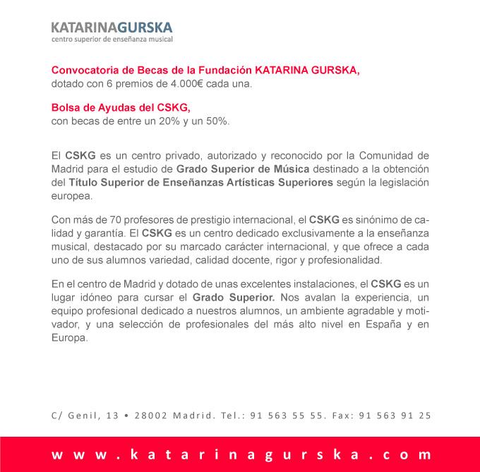 fundacion katarina gurska para la educacion y la cultura  Convocatoria de becas para estudios oficiales de grado superior