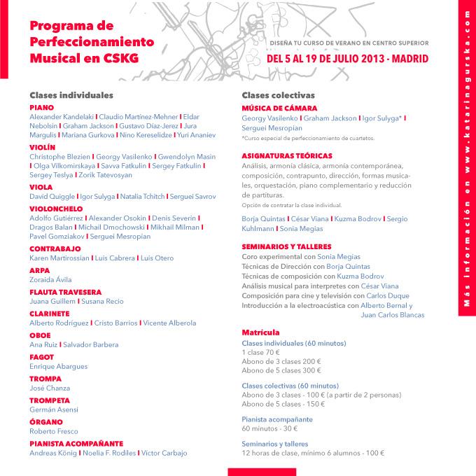 centro superior de ensenanza musical katarina gurska  Madrid acoge a grandes maestros internacionales en el programa de verano del CSKG
