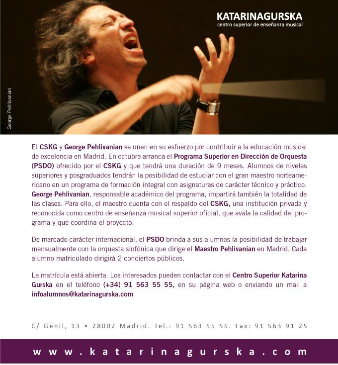 centro superior de ensenanza musical katarina gurska  Programa Superior en Dirección de Orquesta con el maestro George Pehlivanian