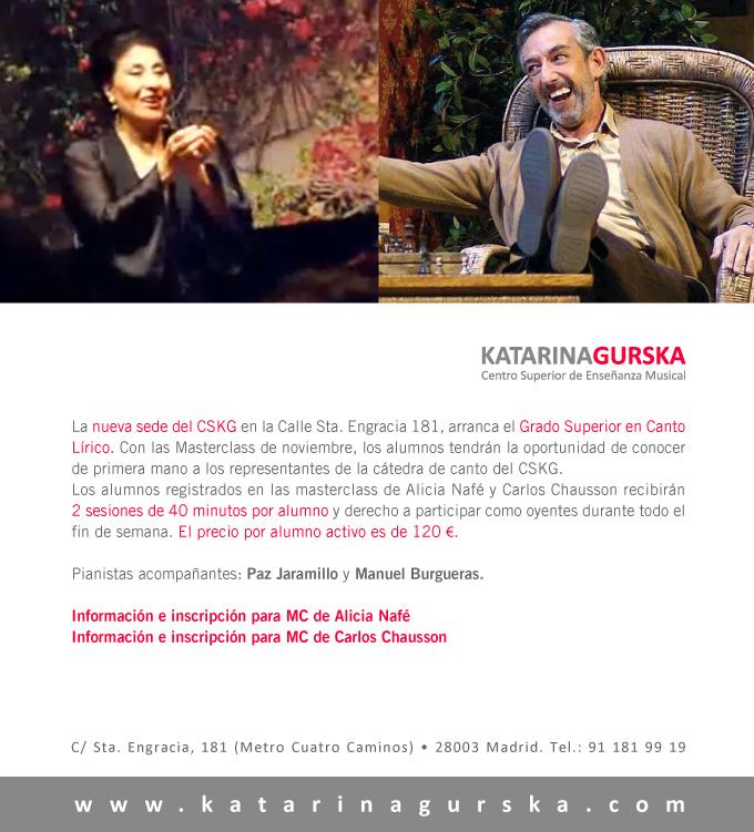 centro superior de ensenanza musical katarina gurska  Masterclass de Alicia Nafé y Carlos Chausson en la nueva sede del CSKG