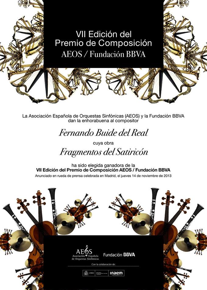aeos asociacion espanola de orquestas sinfonicas  Fernando Buide del Real, VII premio de composición AEOS / Fundación BBVA