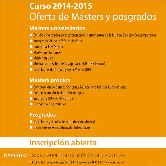 escuela superior de musica de catalunya  Inscripción abierta para los másters y postgrados de la Esmuc