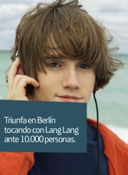 Portrait of a boy listening to headphones