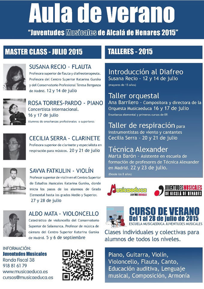 musicaeduca juventudes musicales  Aula de verano 2015. Master Class, Talleres y Cursos para profesores