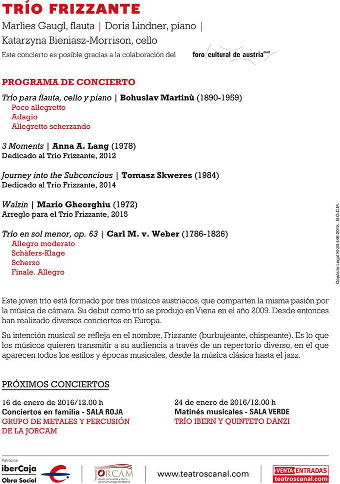 teatros del canal  El Trío Frizzante en el Ciclo Matinés musicales de Ibercaja