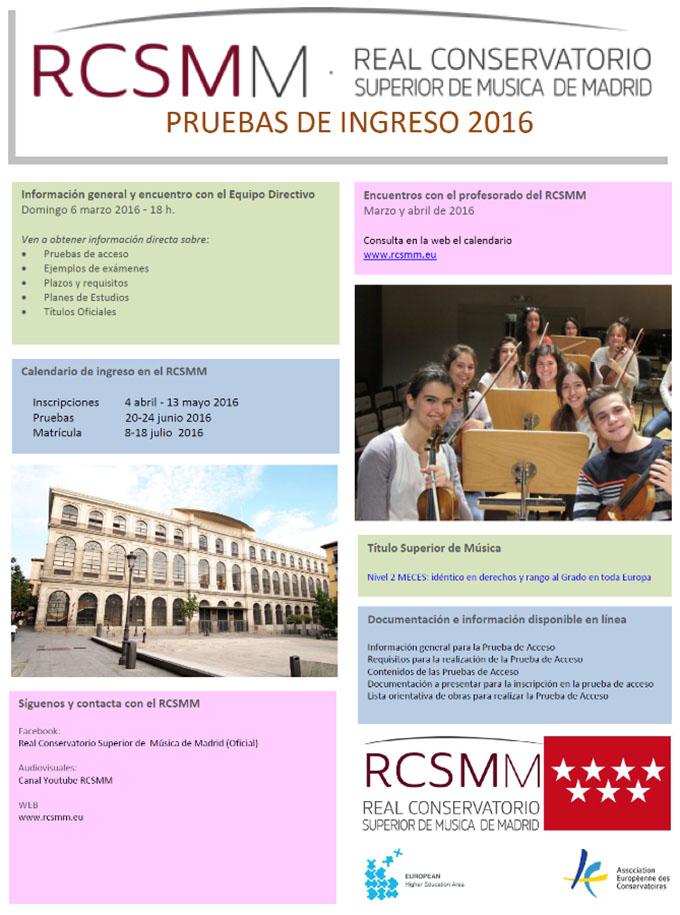 real conservatorio superior de musica de madrid  Jornadas de puertas abiertas para ingresar en el Real Conservatorio