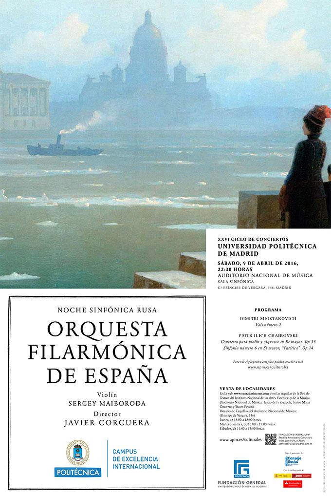 universidad politecnica de madrid  Noche Sinfónica Rusa con la Orquesta Filarmónica de España