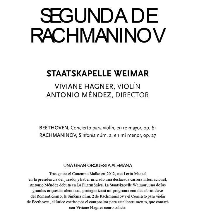 la filarmonica  Antonio Méndez debuta en La Filarmónica con la Segunda de Rachmaninov
