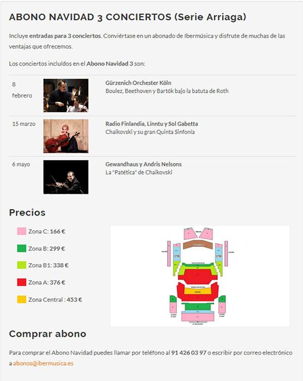 fundacion ibermusica  Abonos Especial Navidad Ibermúsica. Conciertos Series Arriaga y Barbieri