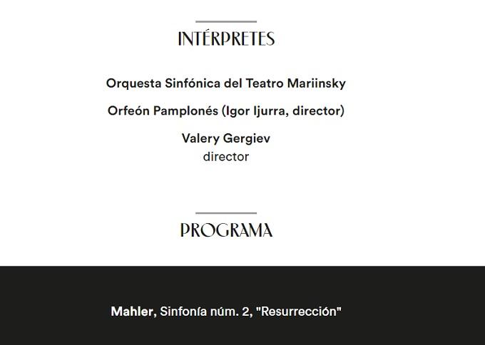 la filarmonica  Valery Gergiev con la Orquesta Sinfónica del Teatro Mariinsky de San Petersburgo