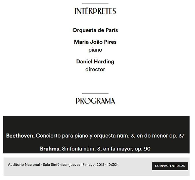 la filarmonica  Maria Joâo Pires y la Orquesta de París en La Filarmónica