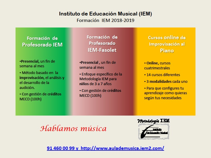 instituto de educacion musical iem  Cursos de formación del Instituto de Educación Musical
