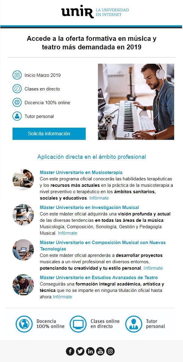 universidad internacional de la rioja  Accede a la oferta en música de la UNIR con bonificaciones