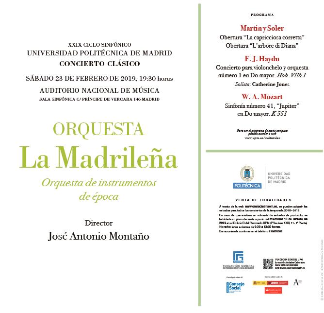 universidad politecnica de madrid  La orquesta La Madrileña en el el XXIX Ciclo Sinfónico UPM