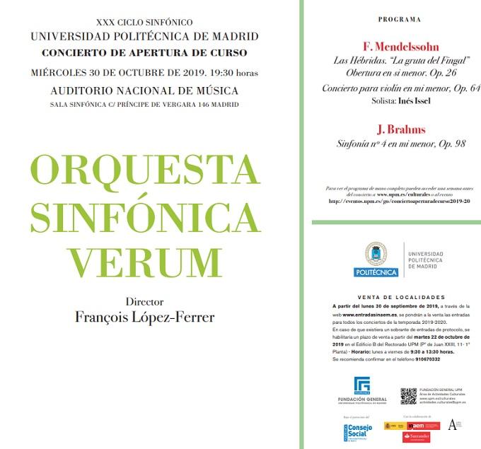 universidad politecnica de madrid noticias  Concierto XXX Ciclo Sinfónico UPM. Apertura de curso 2019/2020